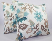 Two Floral Pillow Covers - Blue and Brown Throw Pillows - Blue Pillow Cover - Blue Couch Pillow - Decorative Pillow Covers