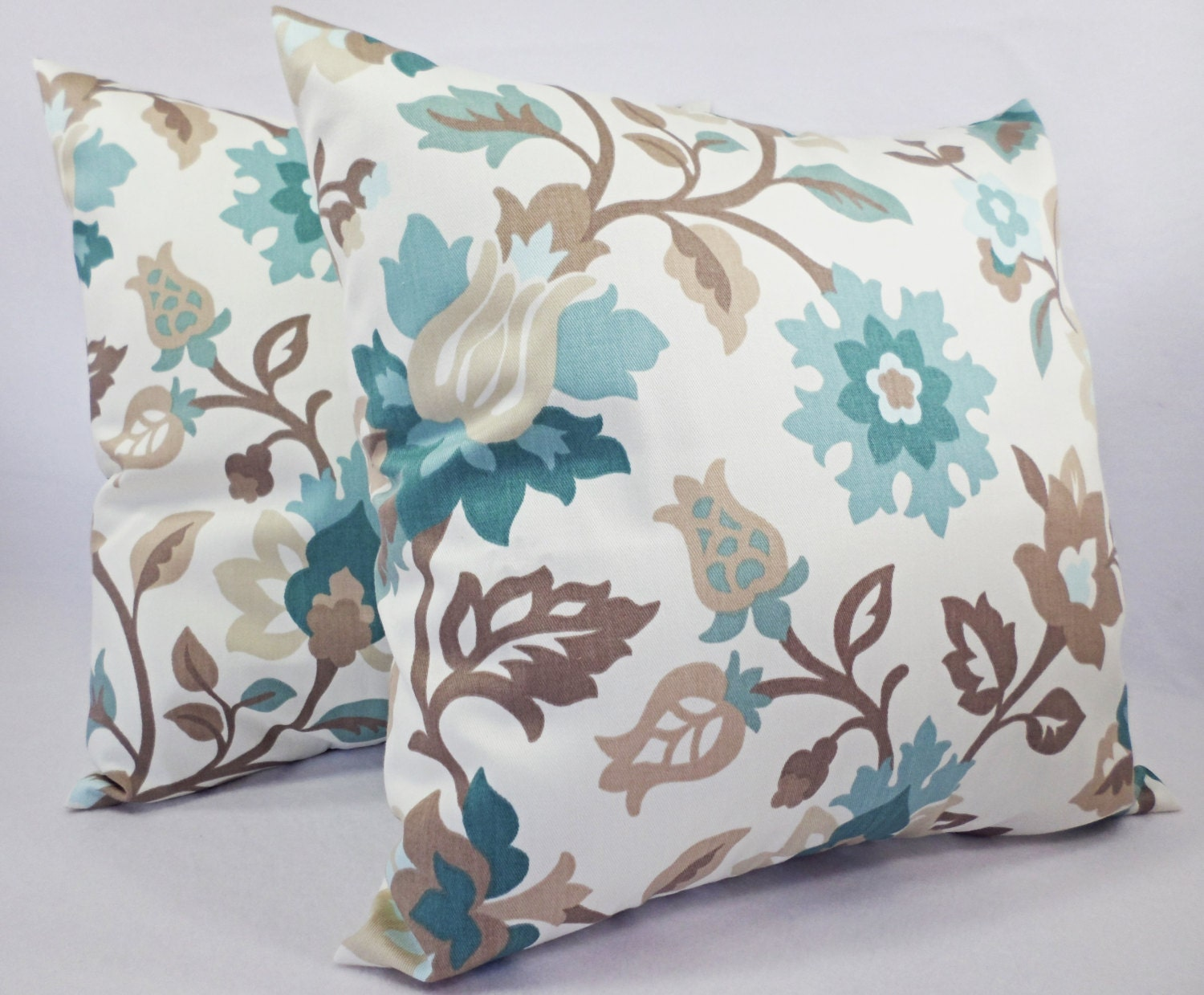 Decorative Pillows For Blue Couch : Two Floral Pillow Covers Blue and Brown by CastawayCoveDecor