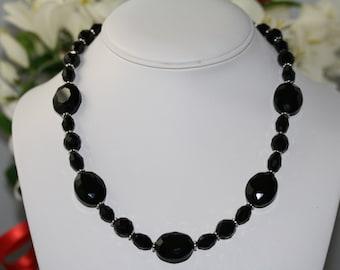 Elegant Black Necklace, Jet Black Necklace, Black, European Glass, Black Necklace,Faceted Black Necklace, Faceted European Glass, Necklaces