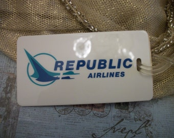Vintage 1980s Republic Airlines Luggage Tag