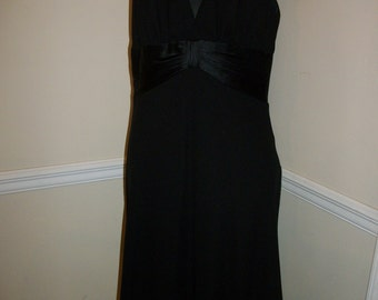 Jones New York Misses Size 12 Black Dress with Empire Silk Band