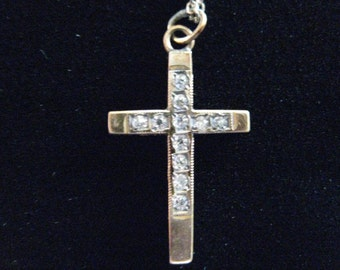 Vintage Gold Plated Sterling Cross With Crystals