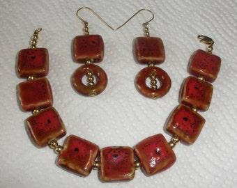 Coral Ceramic Bracelet Set