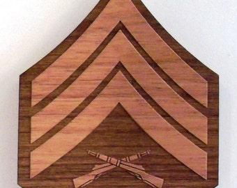 USMC Sergeant Insignia Wooden Fridge Magnet