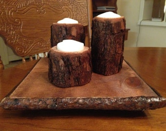 Rustic Tree Branch Trio on Base