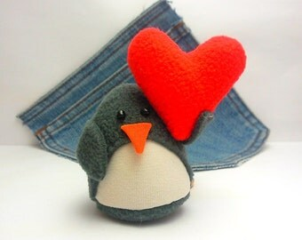 Cute Penguin,Penguin plushie with heart,eco friendly. HandmadePenguin, stuffed penguin,Penguin plush toy.Valentines penguin