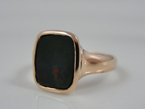 Antique Victorian Ladies Bloodstone Ring, Rose Pink Gold RGJS111D