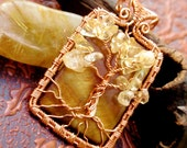 Citrine and shell tree of life pendant. copper. wire wrapped jewelry handmade