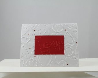 Valentine's Day Greeting Card 4 - White Embossed Hearts