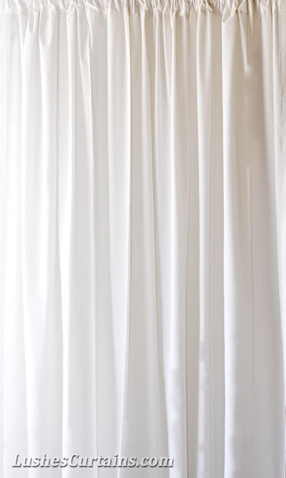 Solid White Flocked Velvet Curtain Panel 108 Inch High Long