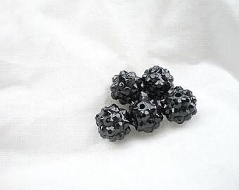 5 black beads shamballa 12mm.