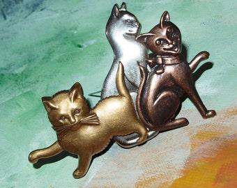 FUN Mixed Metal Three 3 Wild and Crazy Cats Large Brooch/Pin -- 0176