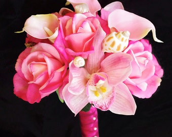 Wedding Fuchsia Pink Natural Touch Roses, Orchids and Callas Seashell Silk Flower Bride Bouquet