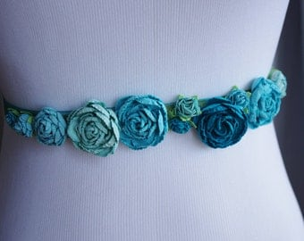 Teal Turquoise Flowers Wedding Sash Belt - Small Shabby Chic Roses Flower Girl Sash