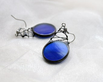 Cobalt blue earrings, stained glass jewelry, unique handmade by ArtKvarta