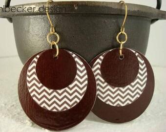 Dark Chocolate Brown Zig Zag Paper Earrings