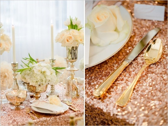 Rose Gold Sequin Table Runner 12 X 108 Sequin By SparkleSoiree