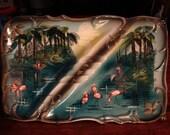 Florida Souvenir Ashtray Flamingos Palm Trees Vintage