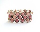 Rhodonite bracelet, Rhodonite beads, Gemstone beads, Silver tone bracelet, Rhodonite jewelry, Pink cuff, Stretch cuff, Gift under 35