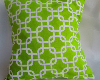 """Geometric Gotcha Decorative throw pillow cover in chartreuse/lime and white, throw pillow, pillow case 14x1416X16 18x18 20x20"""" 22x22"""" 24x24"""""""