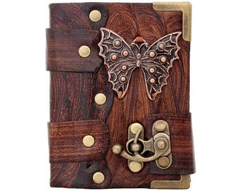 Butterfly Pendant On A Brown Mini Leather Journal / Diary / Lock / Sketchbook / Notebook / Leatherbound
