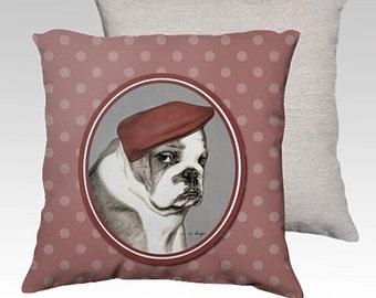 English Bulldog cushion cover, bulldog cushion cover,  bulldog pillow cover, dog lover gift, dog decorative pillow, home decor, pet pillow.