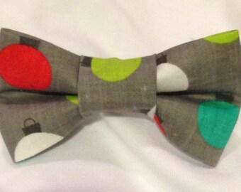 Gray Christmas Bow tie, grey fabric hair bow - pretied bow tie - baby- adult bow tie or hair bow - christmas ornament