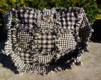 Primitive Black Gingham and Plaid Wooden Bottom Rag Quilt Purse!!! (( Large-Ready Made-Ready to Ship))