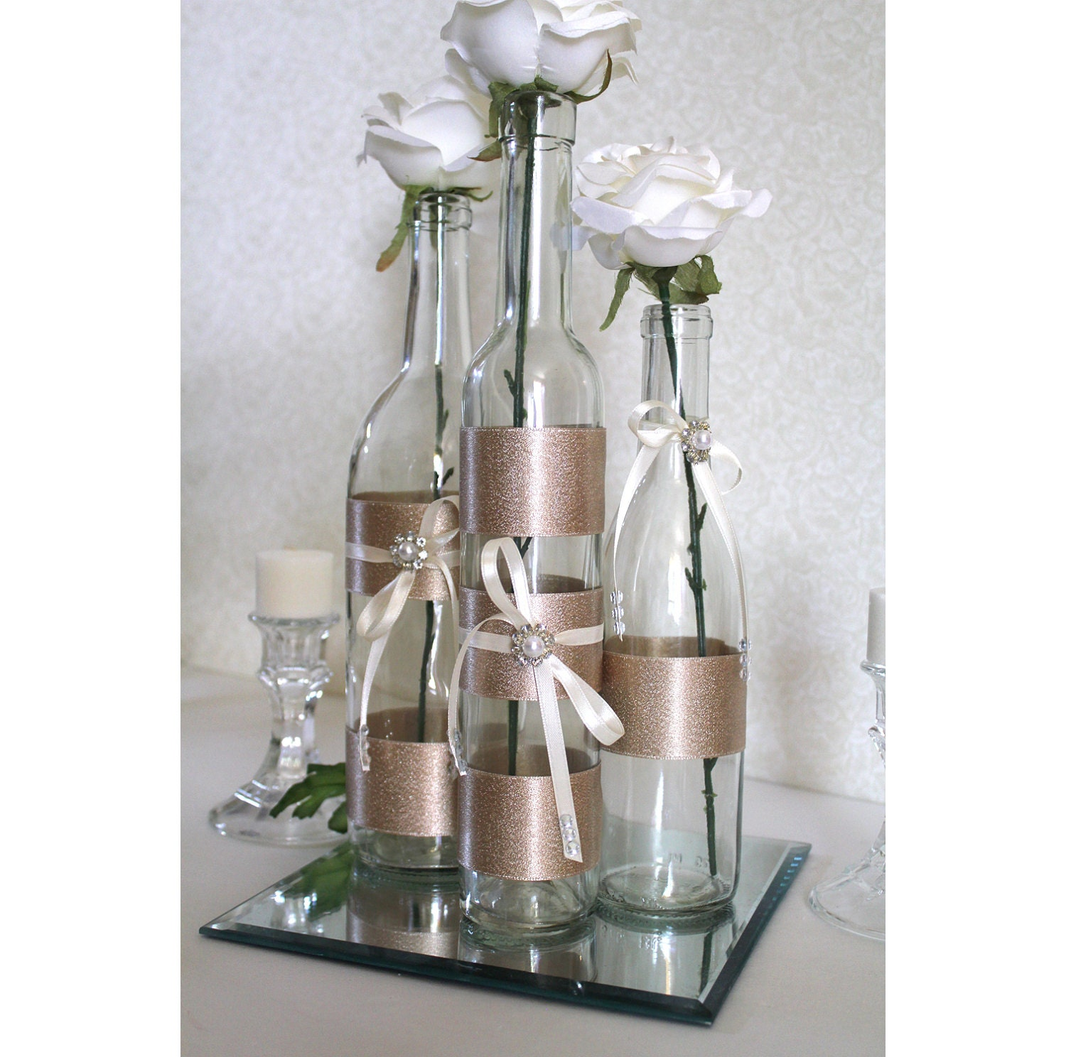 items similar to set 3 decorated wine bottle centerpiece