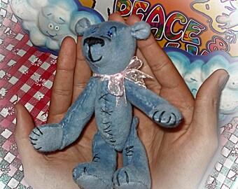 "Little Blue Teddy bear ""miniature""--plush bear"