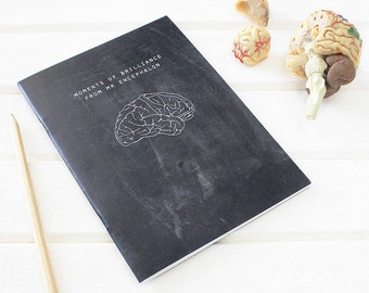 BRAIN NOTEBOOK Science Chalkboard for Neuroscientists. Scientific Stationery Geek. Neuroscience Graduation Back to School Science Gift Black