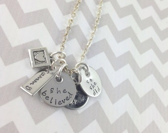 Hand stamped personalized she believed, encouragement necklace