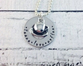 Peace,love, coffee stainless steel hand stamped necklace