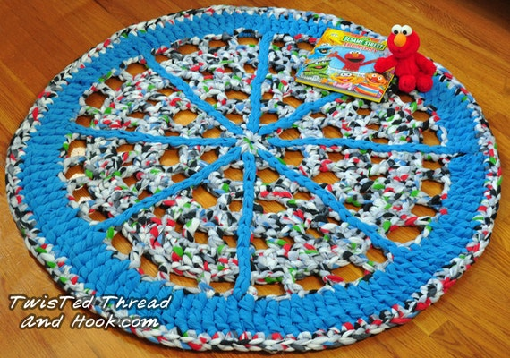 Blue Wheel Rug - Soft Rug for Children Room Decor or Boy Nursery