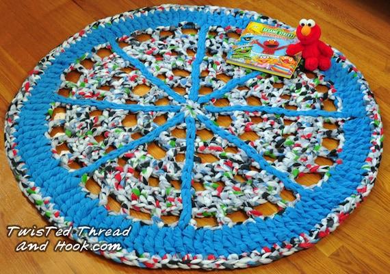 Blue Wheel Rug - Soft Rug for Children Room Decor or Boy Nursery