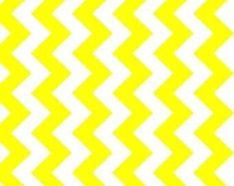 Fabric sale 1 yd NEON YELLOW chevron fabric by Riley Blake Designs - NEW Color -  Medium Chevron quilting cotton