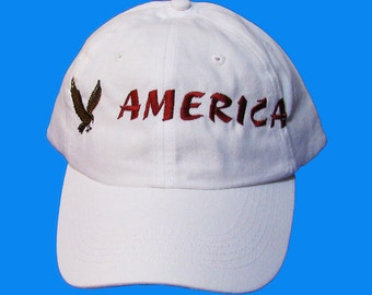 America with Eagle in Flight Embroidered Baseball Cap