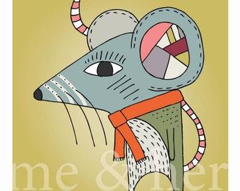 Maverick Mouse. Childrens art print. Pen and ink illustration.