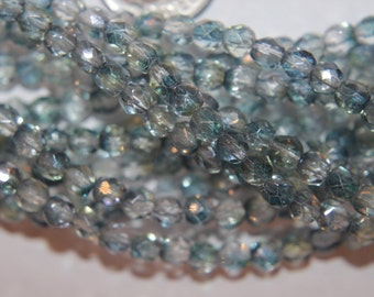 4mm Luster Blue/Green Crystal Czech Firepolished  Faceted Bead Crystal Glass 100pcs Strand