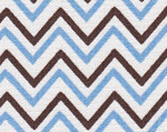 HALF YARD Small Blue and Brown Chevron Fabric Finders Cotton Fabric