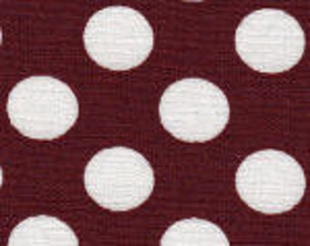 HALF YARD Maroon and White Dot Fabric Finders Cotton Fabric