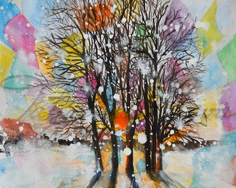 SALE 20% OFF Original Watercolor Painting - Kaleidoscope. Group of forest trees that passes sun.