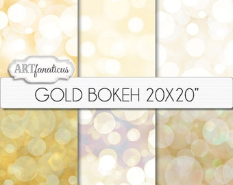 "20x20 Bokeh Digital Papers ""GOLD BOKEH"" Bokeh Overlay, Gold backgrounds, Bokeh Background for Photographers, large format printing & more"