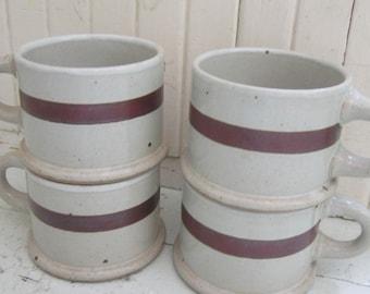 Mid Century, DANSK, BLT, International Designs, Set of Four, Soup Mugs, Brown Stoneware, Coffee Cups