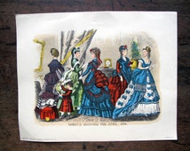 Original Godey Fashion Book Illustration Original French Fashion no 5703 April 1870