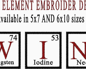 WINE Periodic Element Embroidery Design - Available in 5x7 and 6x10