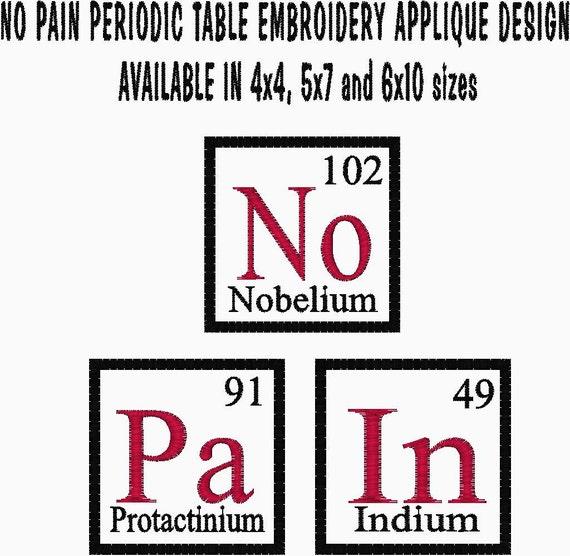 Items similar to no pain periodic element chart embroidery applique items similar to no pain periodic element chart embroidery applique design chemistry design on etsy urtaz Gallery