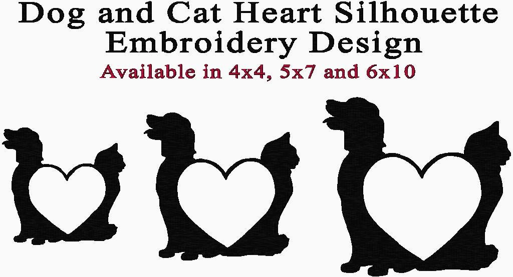 Cat Dog Heart Silhouette Embroidery Design