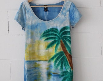 Hand Painted  women dress, palm and sea landscape, stretch cotton dress M size, by Thelli, summer dress, painting on dress, one of a kind
