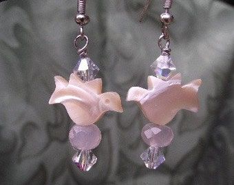 Mother of Pearl Dove Earrings